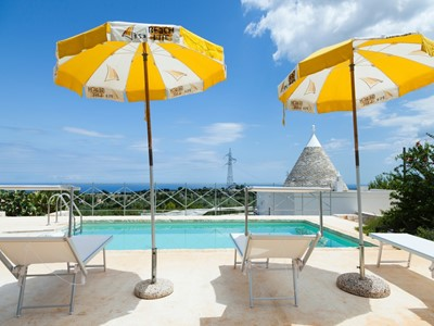 Trulli with sea view & private swimming pool, sleeping 8 people